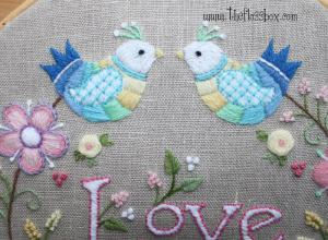 Love Crewel Embroidery Closeup